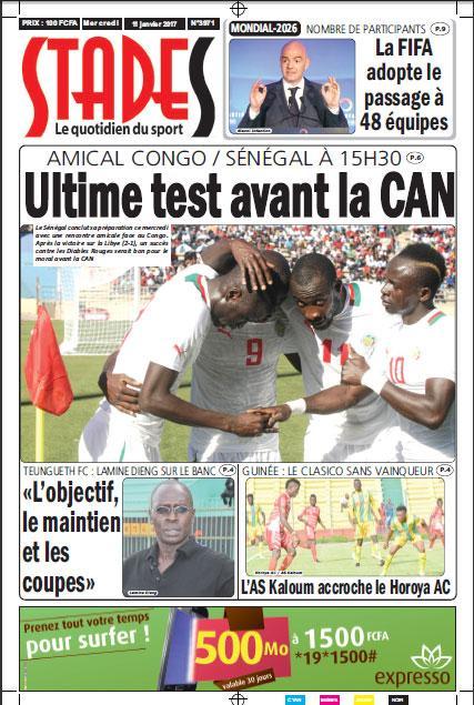 Amical Congo/Sénégal ce mercredi à 15H30: Les diables rouges en dernier festin pour les lions(STADES)