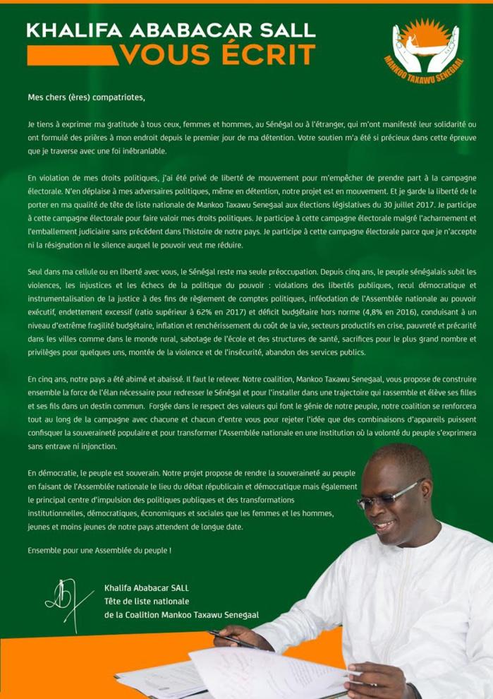 Au fond de sa cellule, Khalifa Sall se prononce  enfin(lettre): « Depuis 5 ans le peuple subit les violations, les injustices et les échecs »