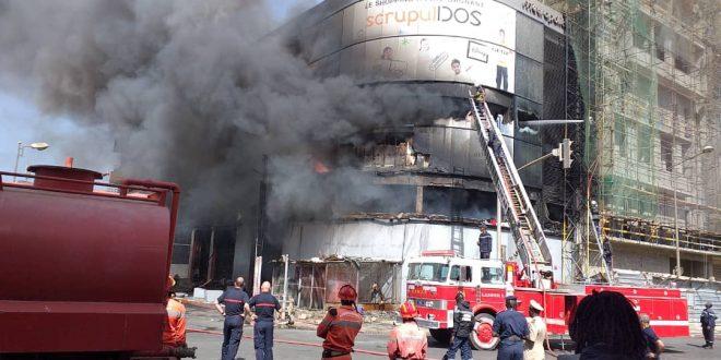 édifice en feu