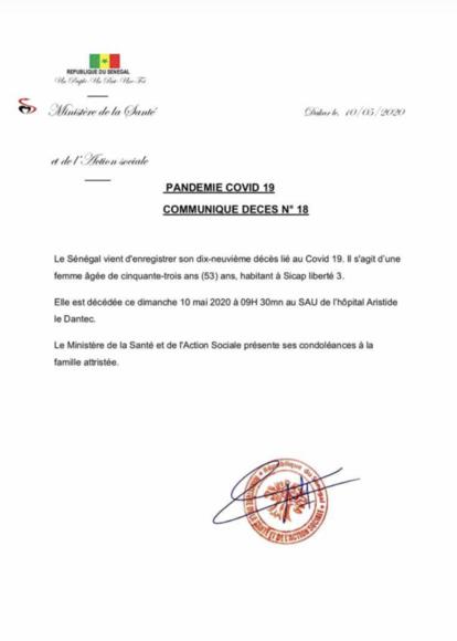 URGENT : Le Sénégal enregistre son 19e décès lié au Covid-19