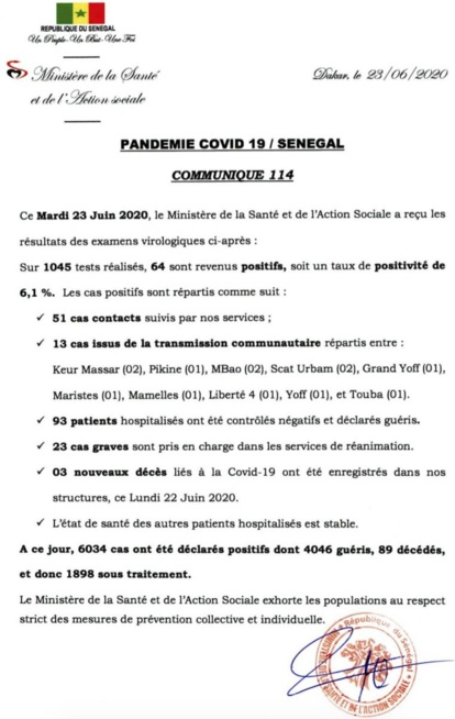 Covid-19 : 3 décès, 23 cas en réa et 64 nouveaux tests positifs