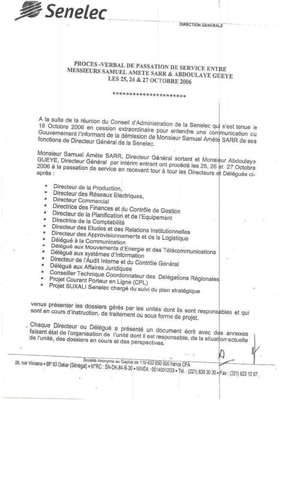 SENELEC : Toute la vérité sur gestion de Samuel Sarr ( Documents )