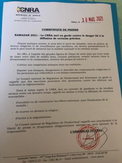 Ramadan / Compétition entre les tarikhas au Sénégal: Le CNRA met en garde les chaînes télé