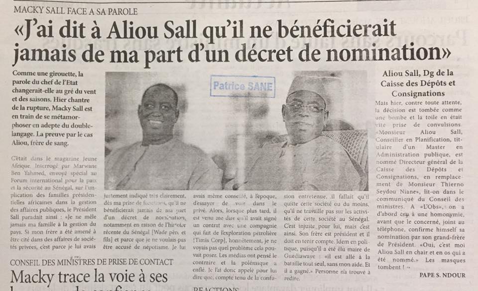 Nomination de Alioune Sall à la CDC: Macky Sall face à sa parole(L'OBS)