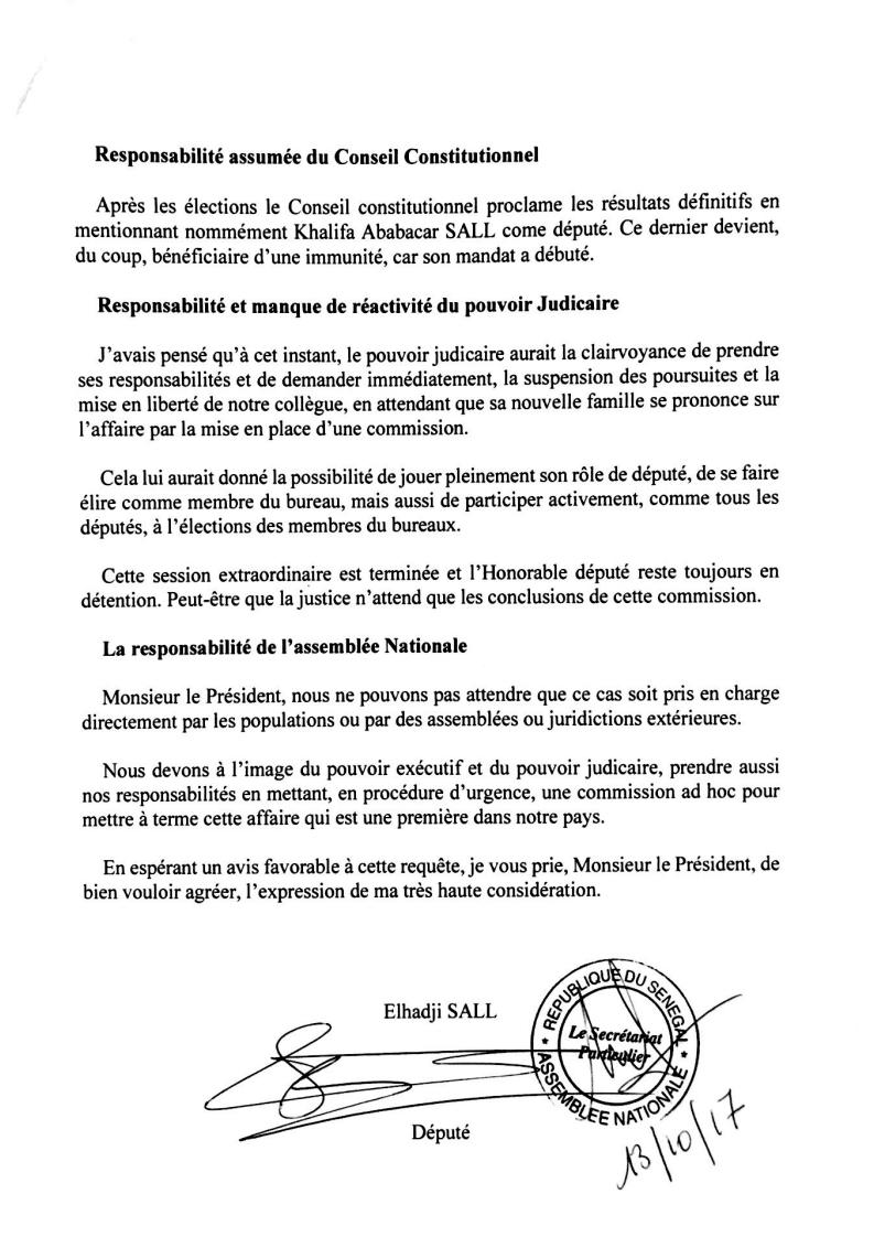 """Cas Khalifa Sall - Lettre Ouverte du """"PUR"""" au Président de l'Assemblée( Document de DAKARACTU)"""