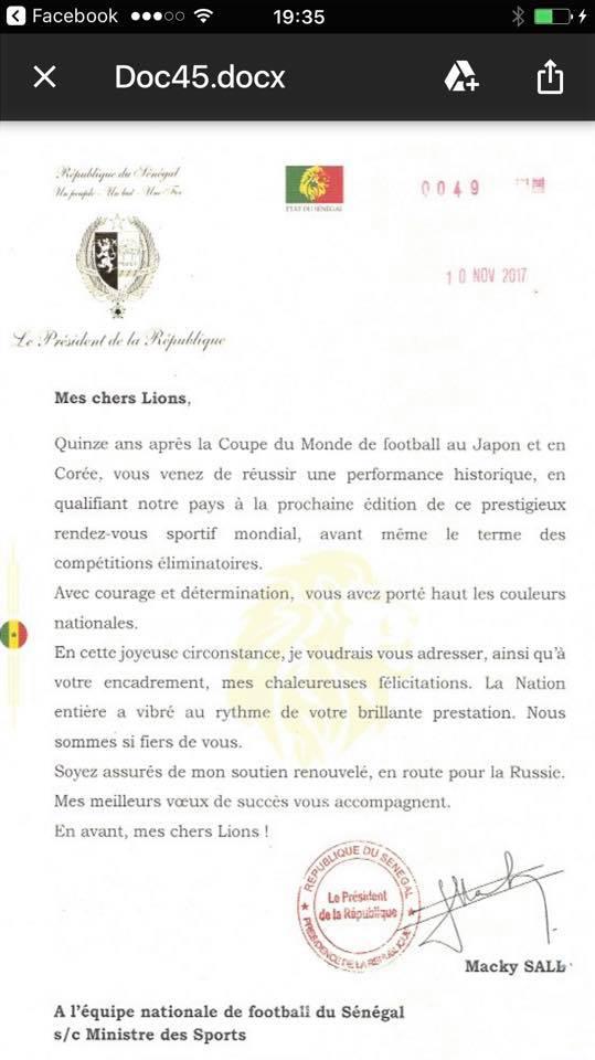 Qualification des lions du senegal au Mondial 2018: Voici la lettre de félicitations du PR SALL