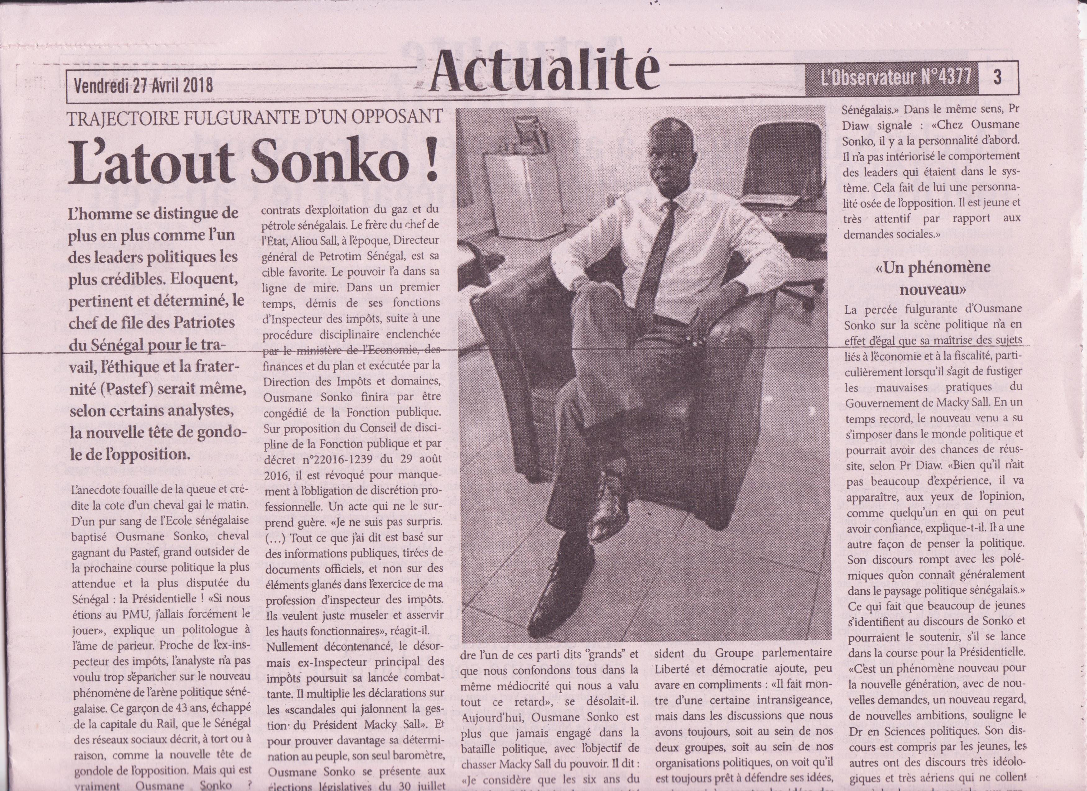 """Portrait du leader de PASTEF:  """"Sonko, une nouvelle figure politique qui rompt avec le système"""""""