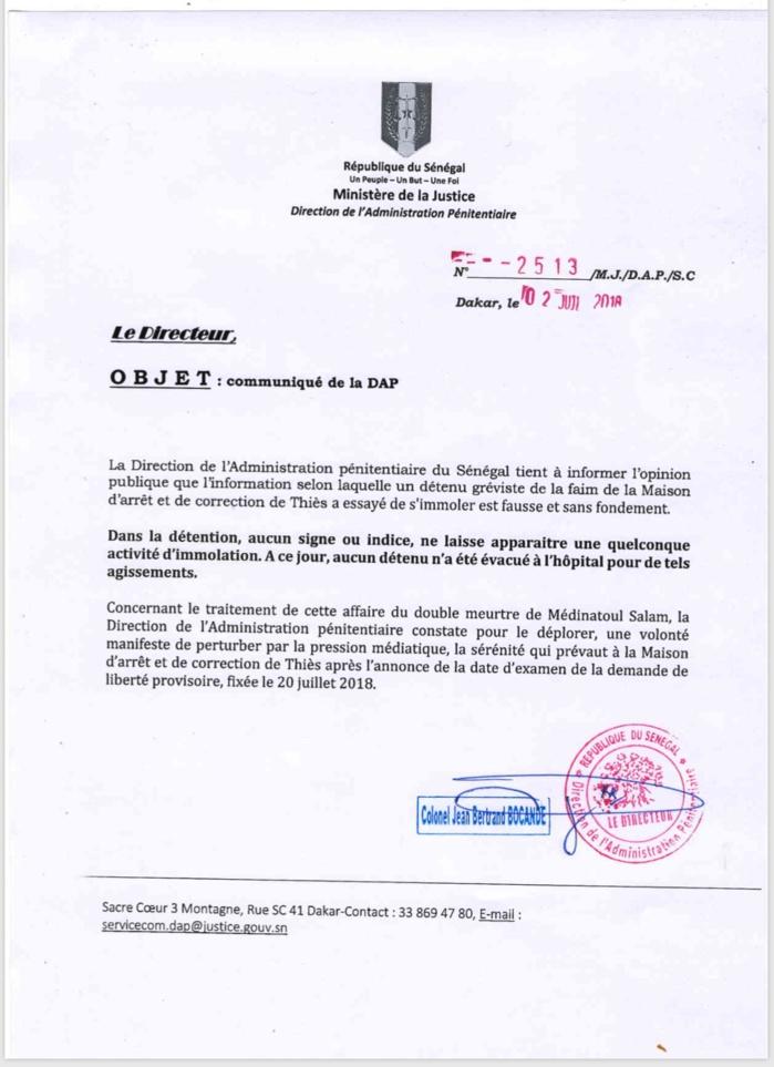 Tentative d'immolation à la MAC de Thiès : la Direction de l'Administration pénitentiaire dément (Document)