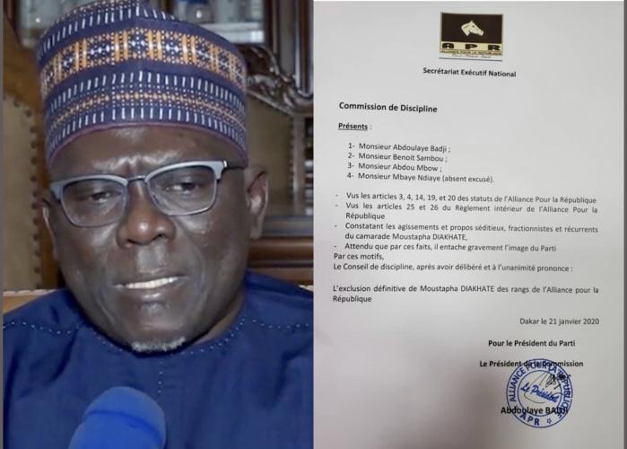 Urgent : Moustapha Diakhaté exclu de l'APR (DOCUMENT)