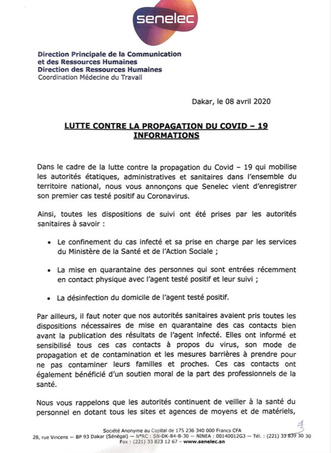 Covid-19 – La Senelec annonce son premier cas : Ses contacts mis en quarantaine