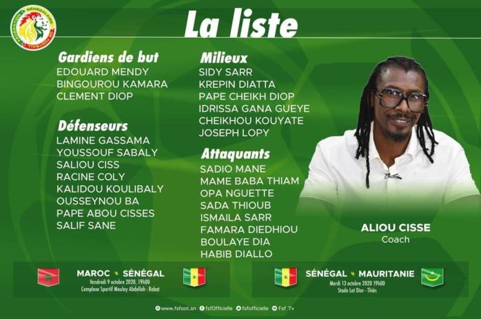 Liste de Aliou Cissé : Les Lions avec Boulaye Dia, Pape Cheikh Diop, Mame Baba Thiam et Opa Nguette de retour