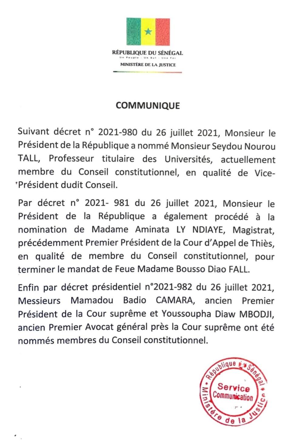 Conseil Constitutionnel : Le Président Sall nomme trois nouveaux membres et un vice président