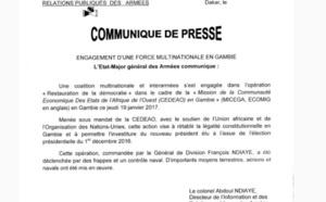 Opération 'restauration de la démocratie' en Gambie, les précisions de la DIRPA