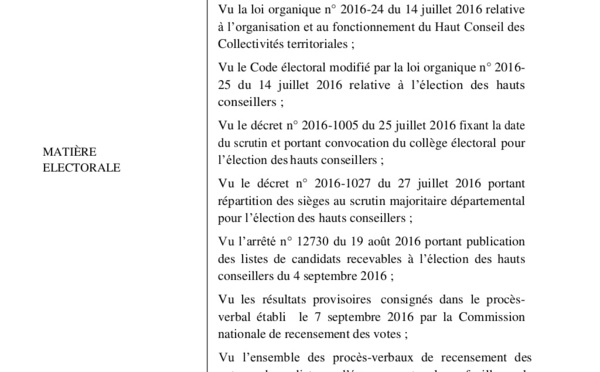 Document Dakaractu: Voici les résultats définitifs de l'élection du Haut Conseil des Collectivités Territoriales par le Conseil Constitutionnel