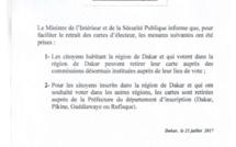 LÉGISLATIVES 2017 : Nouvelles mesures pour faciliter le retrait des cartes (DOCUMENT)